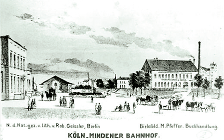 Corporate premises near the former Cologne-Minden train station in Bielefeld in 1890
